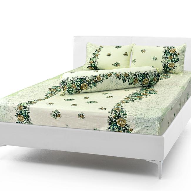 Bộ Drap Cotton Vải Thắng Lợi Áo Gối Chần Gòn 1,6x 2m hoa dây ngọc