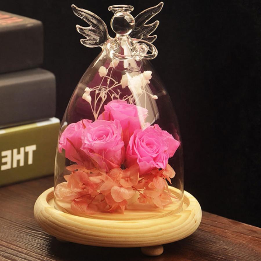Rose Glass Cover Floral Decor Decorating Angel Wood Base Valentine