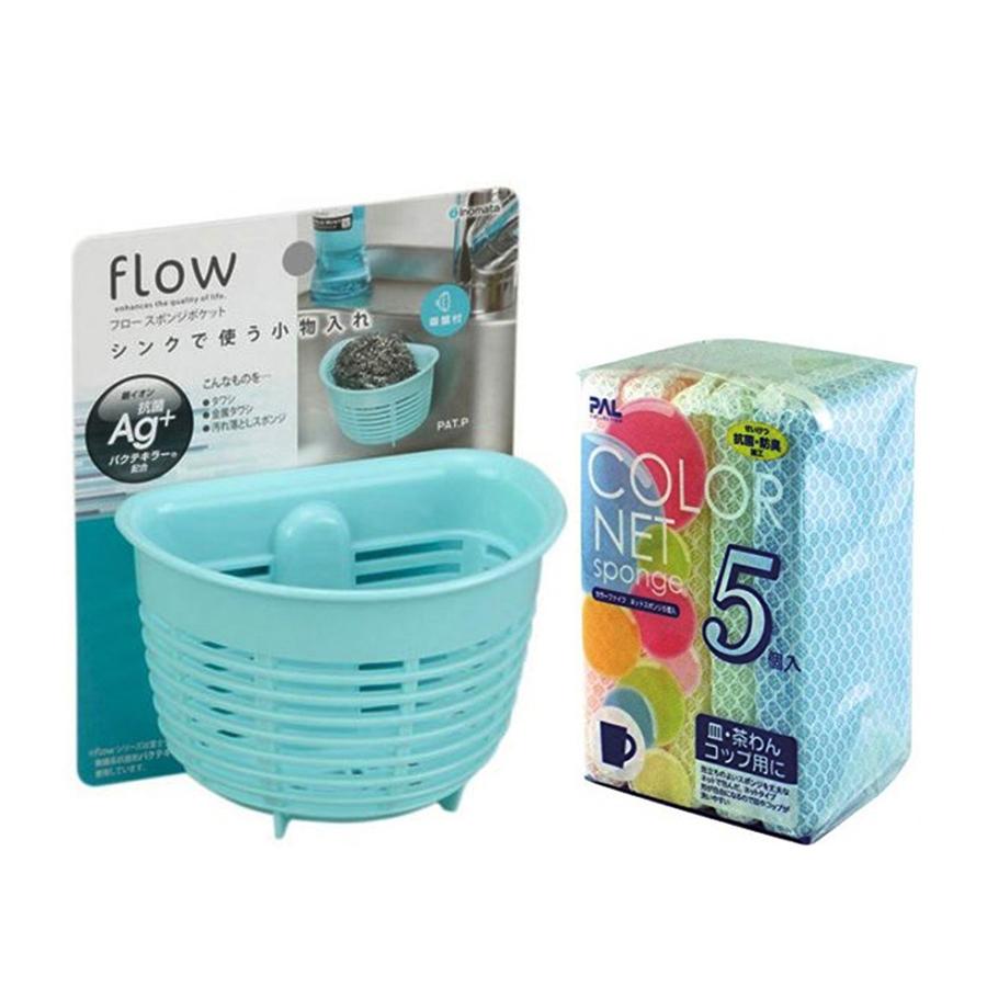 Combo Giá để giẻ rửa bát hình rổ màu xanh + Set 5 miếng xốp rửa bát bọc lưới