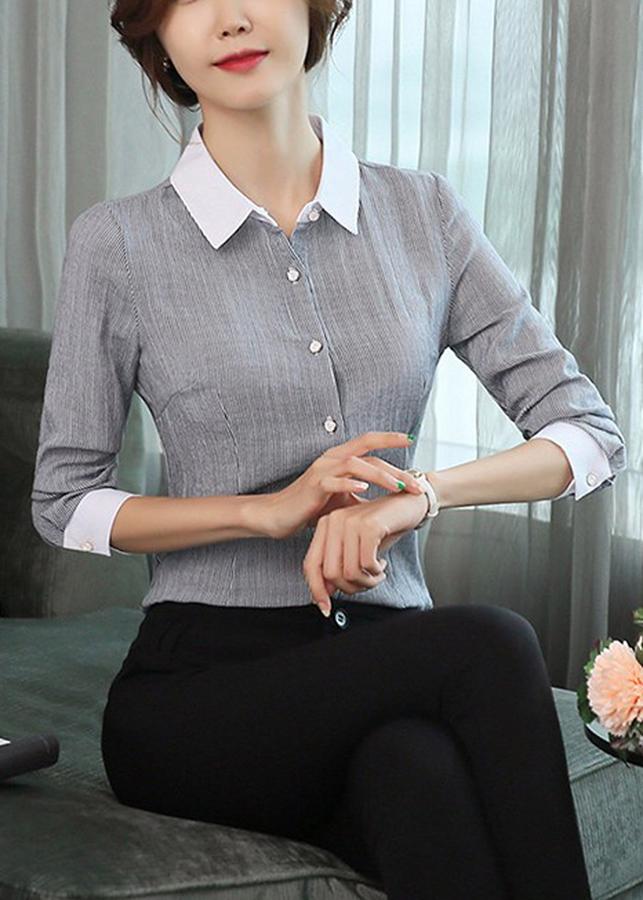 Áo Sơ Mi Nữ Sọc Nhí Phối Cổ BY3239