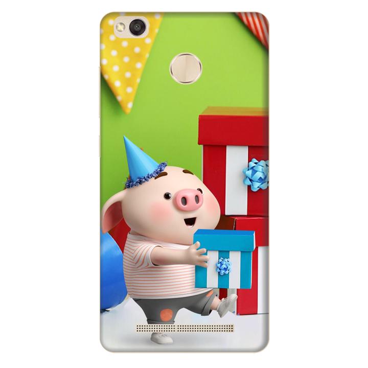 Ốp lưng nhựa cứng nhám dành cho Xiaomi Redmi 3X in hình Heo Con Mừng Sinh Nhật