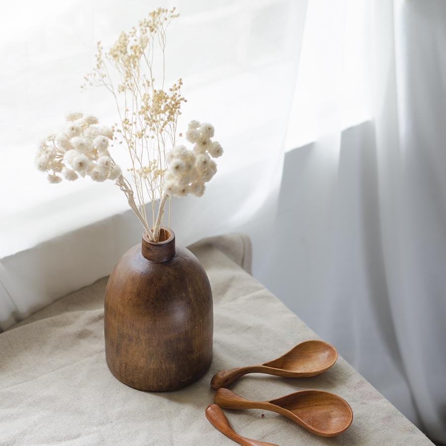 Lọ hoa gỗ bầu tròn size to - lọ hoa gỗ thủ công, cắm hoa khô, hoa lụa