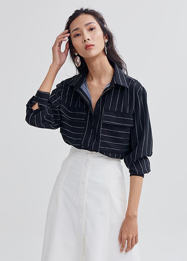 Áo sơ mi nữ sọc tay dài 2 túi basic Marc Fashion