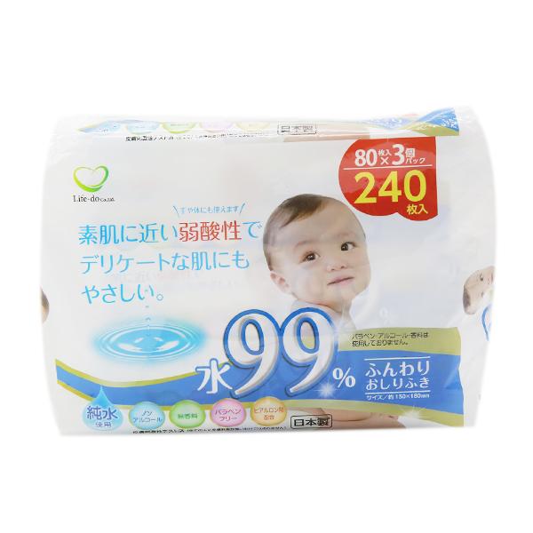 Giấy Ướt Em Bé Loại 80 Tờ / Gói (3 Gói) Nội Địa Nhật Bản (Tặng Trà Sữa Matcha Macca 20g)