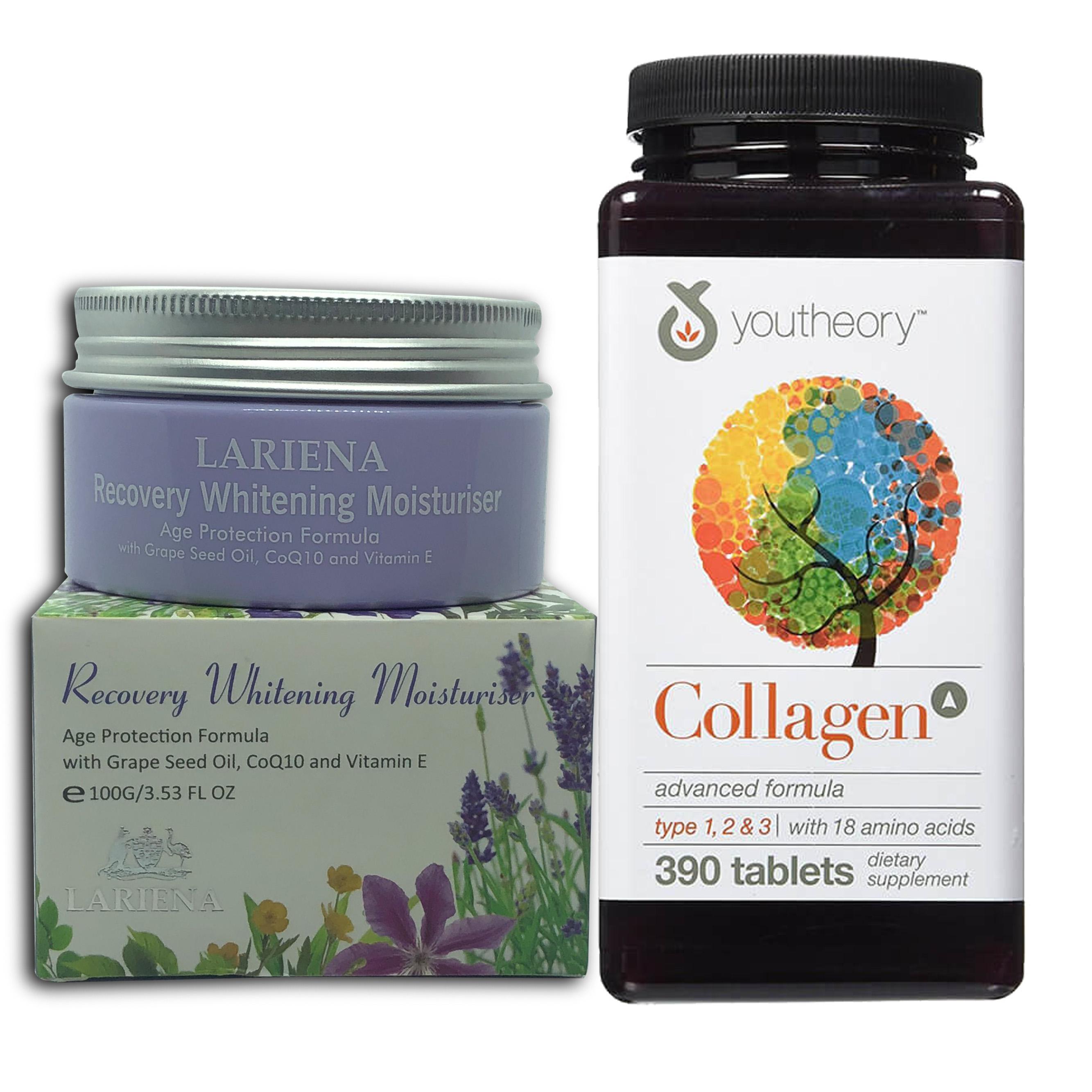 Thực phẩm Bảo Vệ Sức Khỏe Viên uống bổ sung Collagen Youtheory (Collagen Type 1-2-3) 390 Viên Tặng kèm hộp Kem Trắng da...