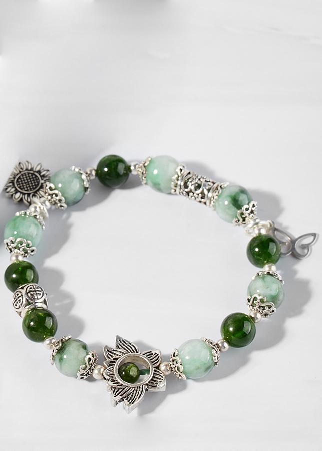 Vòng cẩm thạch phỉ thúy phối diopside và charm Hoa bạc Ngọc Quý Gemstones