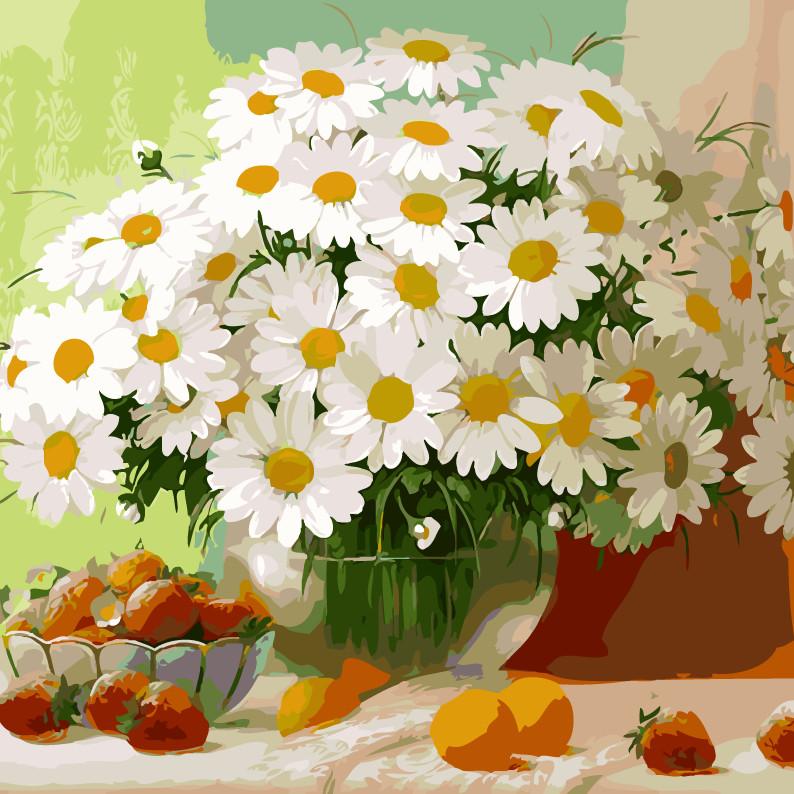 Tranh sơn dầu số hóa lọ hoa cúc trắng 102