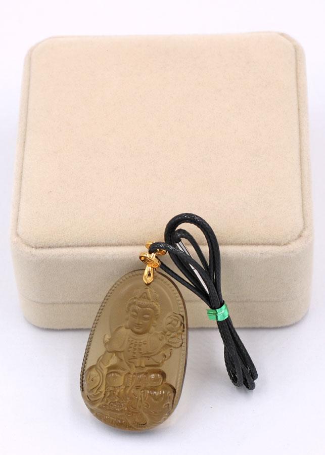 Vòng cổ Bồ tát Phổ hiền đá Obsidian 5 cm DEBNN2 - Phật hộ mệnh cho người tuổi Thìn, Tỵ