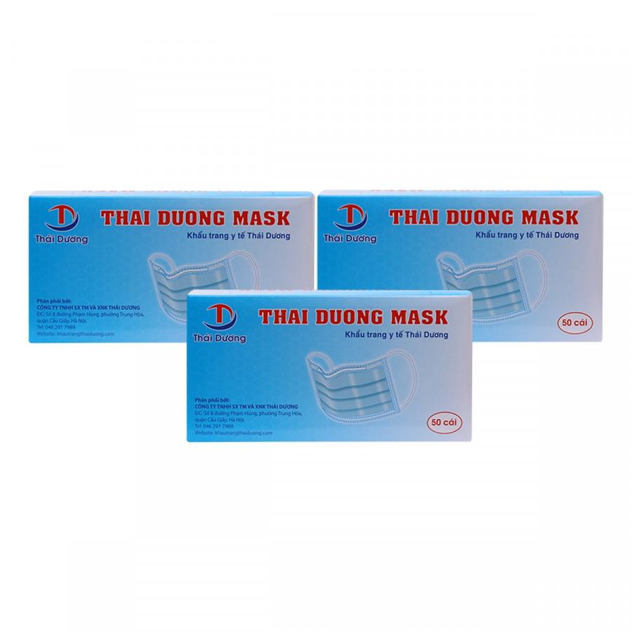 Bộ 3 Hộp Khẩu Trang Y Tế Thai Duong Mask Màu Trắng (50 Cái / Hộp) - Tặng 1 Hộp Cùng Loại