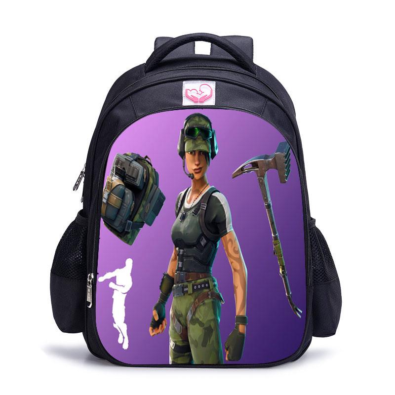 Unisex Women Men Backpack Nylon Personality Cartoon 3D Print Fortnite Shoulder Students School Bag