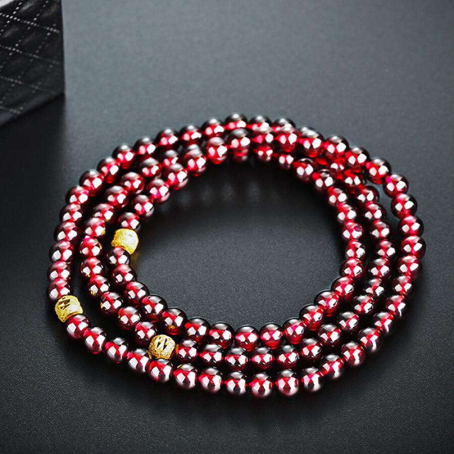 Shi Yan Jewelry Wine Red Garnet Bracelet S925 Silver Transfer Bead Bracelet 5mm