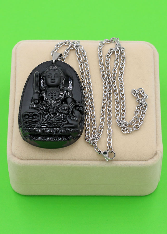 Vòng cổ Văn Thù Bồ Tát thạch anh đen 6 cm DITTES3 - Phật bản mệnh tuổi Mão - Sản phẩm phong thủy có kích cỡ lớn,...