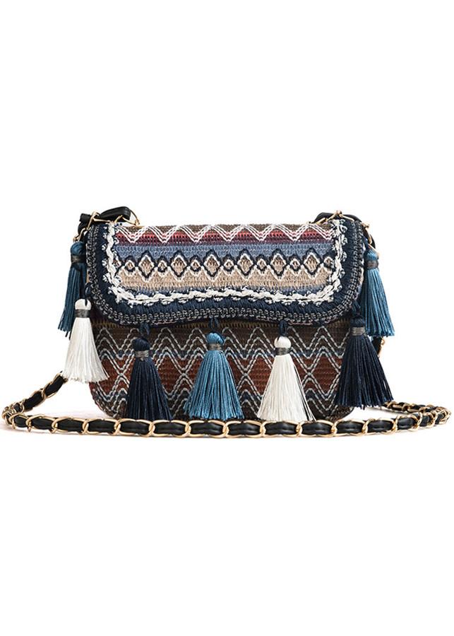 Túi đeo chéo nữ thổ cẩm tua rua 133-134