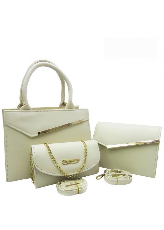 Bộ 3 túi xách và ví nữ Kẹp Chéo da mịn L56Tr - Màu Trắng (Gồm 2 túi và 1 ví)