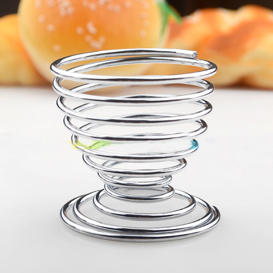 Stainless Steel Spring Wire Tray Boiled Egg Cups Holder Useful Lovely Storage