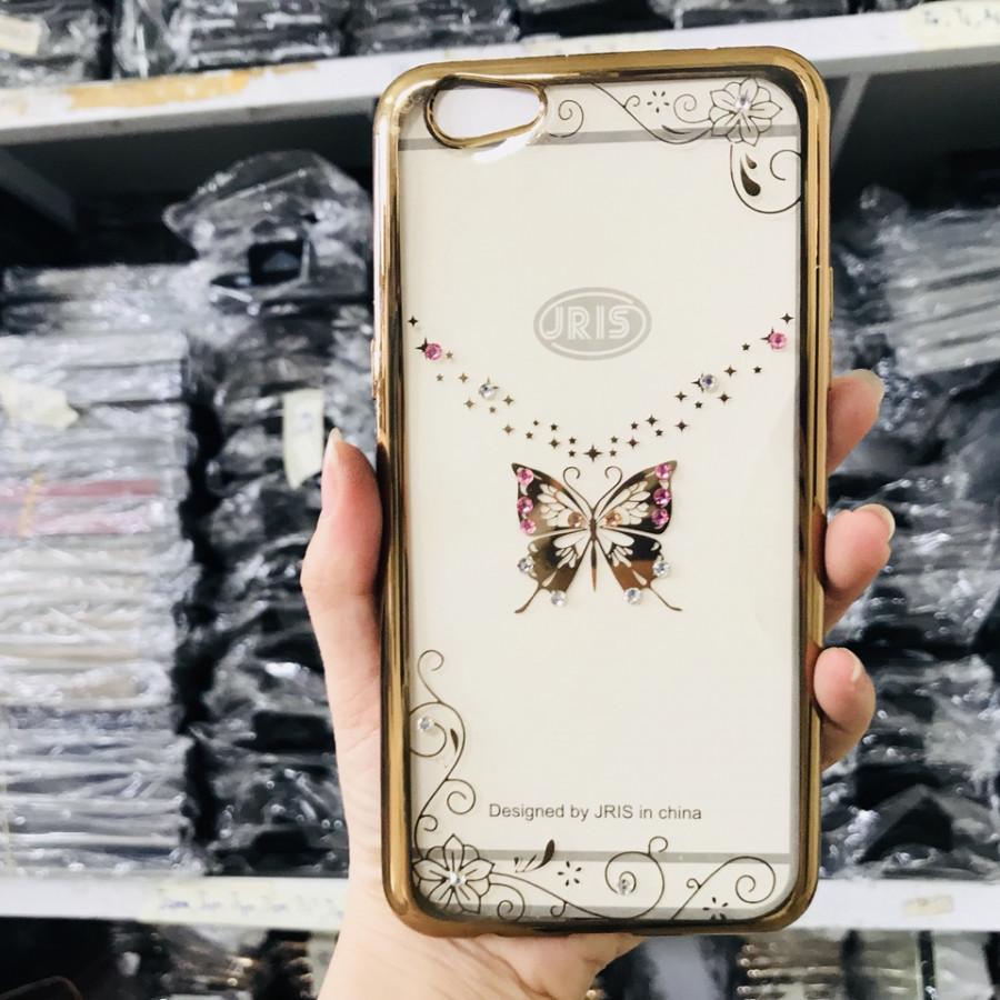 Ốp lưng cho Oppo F3 Plus viền vàng đính đá - Hình bướm đẹp