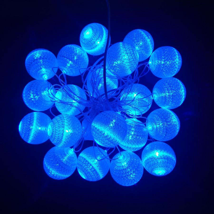 Dây đèn led trái châu cotton xanh dương