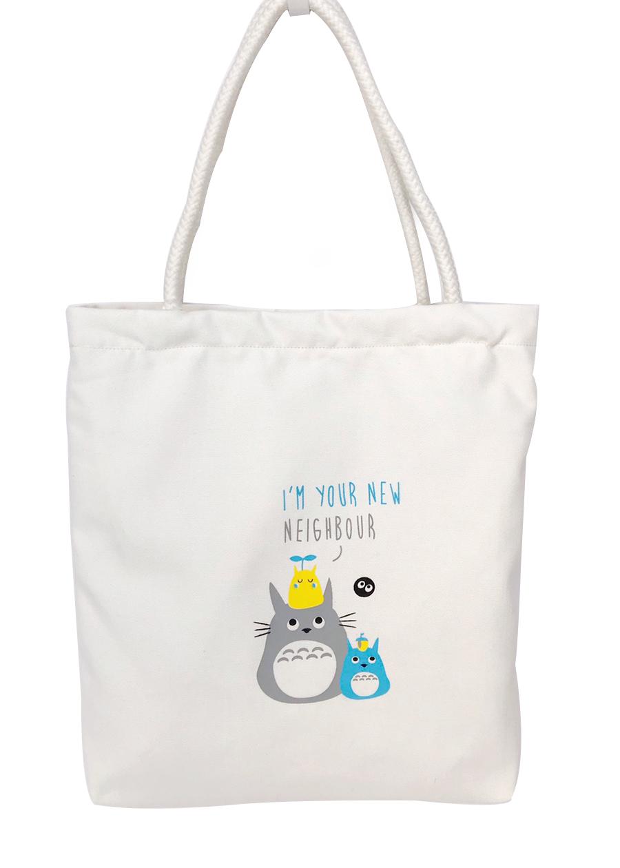 Túi Vải Tote Trắng Quai Vai Thừng Hình Totoro Tote Bag KATY05