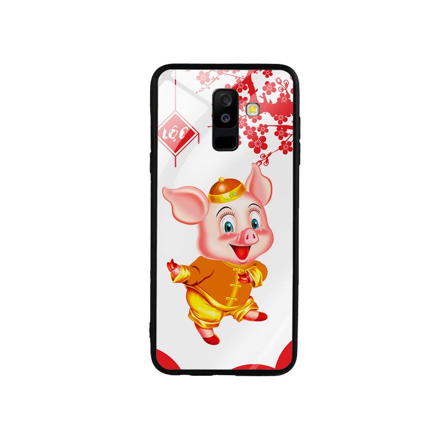 Ốp Lưng Kính Cường Lực cho điện thoại Samsung Galaxy A6 Plus 2018 - Pig 2019