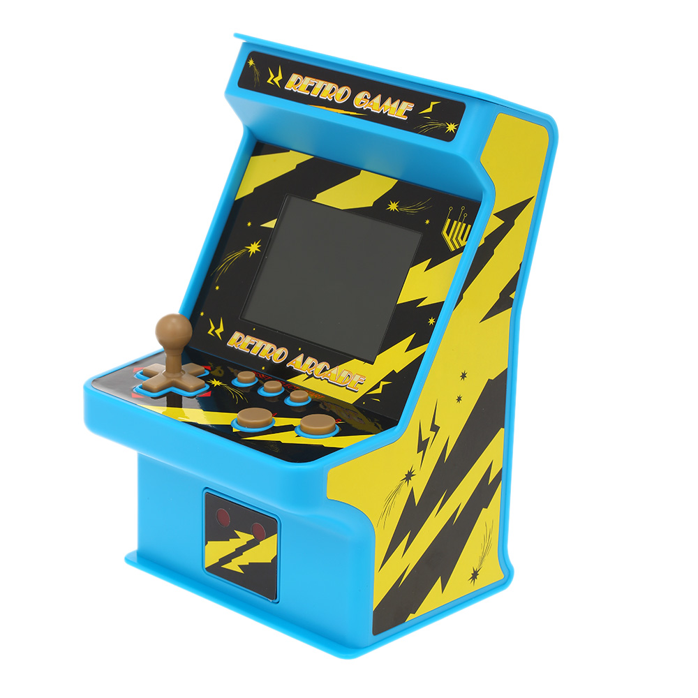 """Retro Miniature Arcade Game Console Portable Handheld Game Machine 256 Classic Games 2.8"""" Screen With Wired Gamepad - Blue, Yellow"""