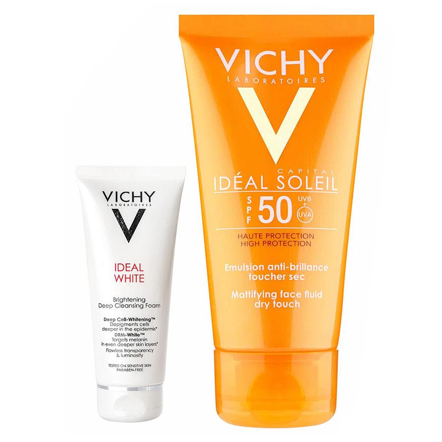 Kem Chống Nắng Không Gây Nhờn Rít Không Màu SPF50  Vichy Capital Soleil SPF50 Face Dry Touch (50ml) - Tặng Sữa Rửa Mặt Ideal... - 5611163534964,62_11507115,485000,tiki.vn,Kem-Chong-Nang-Khong-Gay-Nhon-Rit-Khong-Mau-SPF50-Vichy-Capital-Soleil-SPF50-Face-Dry-Touch-50ml-Tang-Sua-Rua-Mat-Ideal...-62_11507115,Kem Chống Nắng Không Gây Nhờn Rít Không Màu SPF50  Vichy Capital Soleil SP