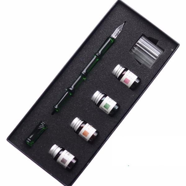 Bút thủy tinh trúc bộ luyện chữ hộp lớn  kèm mực