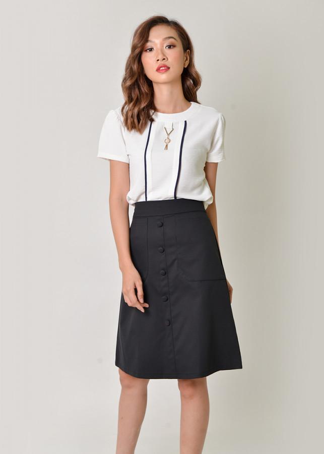 Bộ áo tay ngắn phối phụ kiện và chân váy chữ a - SET17