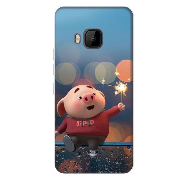 Ốp lưng nhựa cứng nhám dành cho HTC One M9 in hình Heo Pháo Bông
