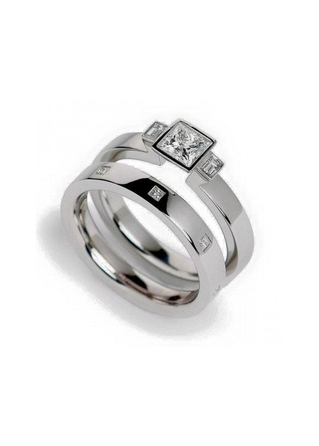 Nhẫn đôi vững chắc xi bạch kim cỡ trung