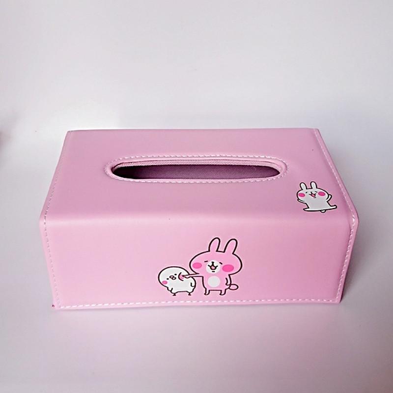 Hộp đựng giấy ăn bọc da Pu cao cấp Royal Tissue Box thỏ hồng + tặng kèm 1 quyển sổ tay