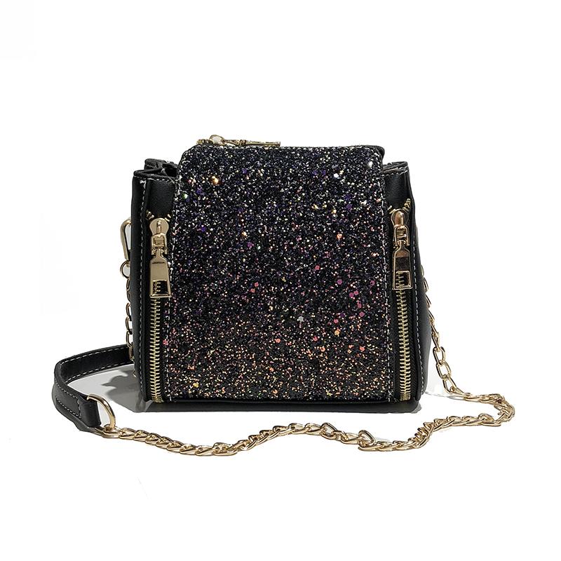 New Fashion Women Sequined Crossbody Bag PU Leather Chain Mini Messenger Shoulder Bag Glitter Handbag