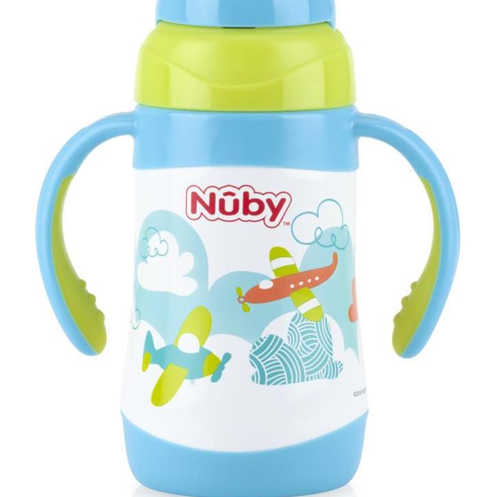 Bình uống nước Nuby 360 độ bằng Inox giữ nhiệt nóng lạnh 280ml