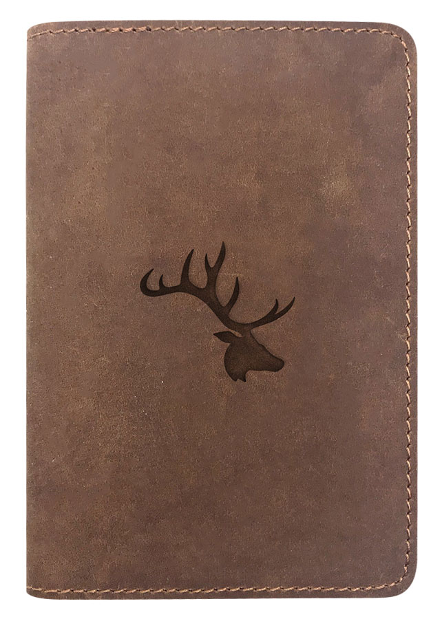 Passport Cover Bao Da Hộ Chiếu Da Sáp Khắc Hình Đầu Tuần Lộc Elk Head Silhouette (Brown)