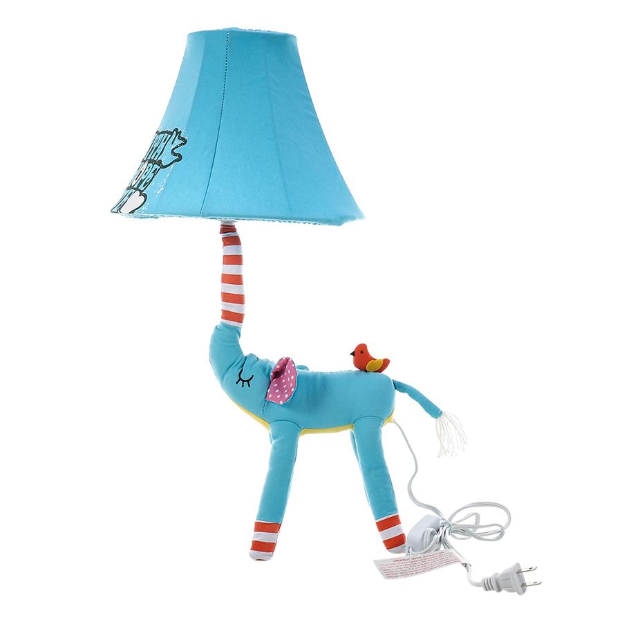 Blue Elephant Lamp EU Plug Animal Lamp Kids Table Lamp Night Light for Kids Lampshade for Children Bedroom Nursery Room