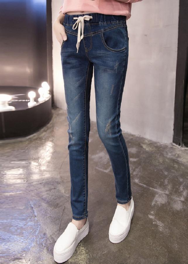 Quần Jeans Nữ Form Rộng Lưng Thun Thắt Dây Phong Cách Hàn Quốc
