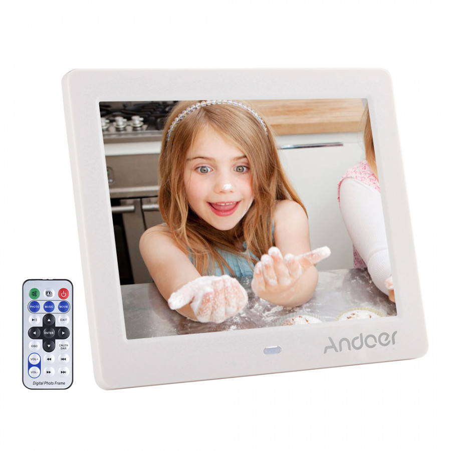 """Andoer 8"""" HD Wide Screen High Resolution Digital Photo Picture Frame Alarm Clock MP3 MP4 Movie Player with Remote"""