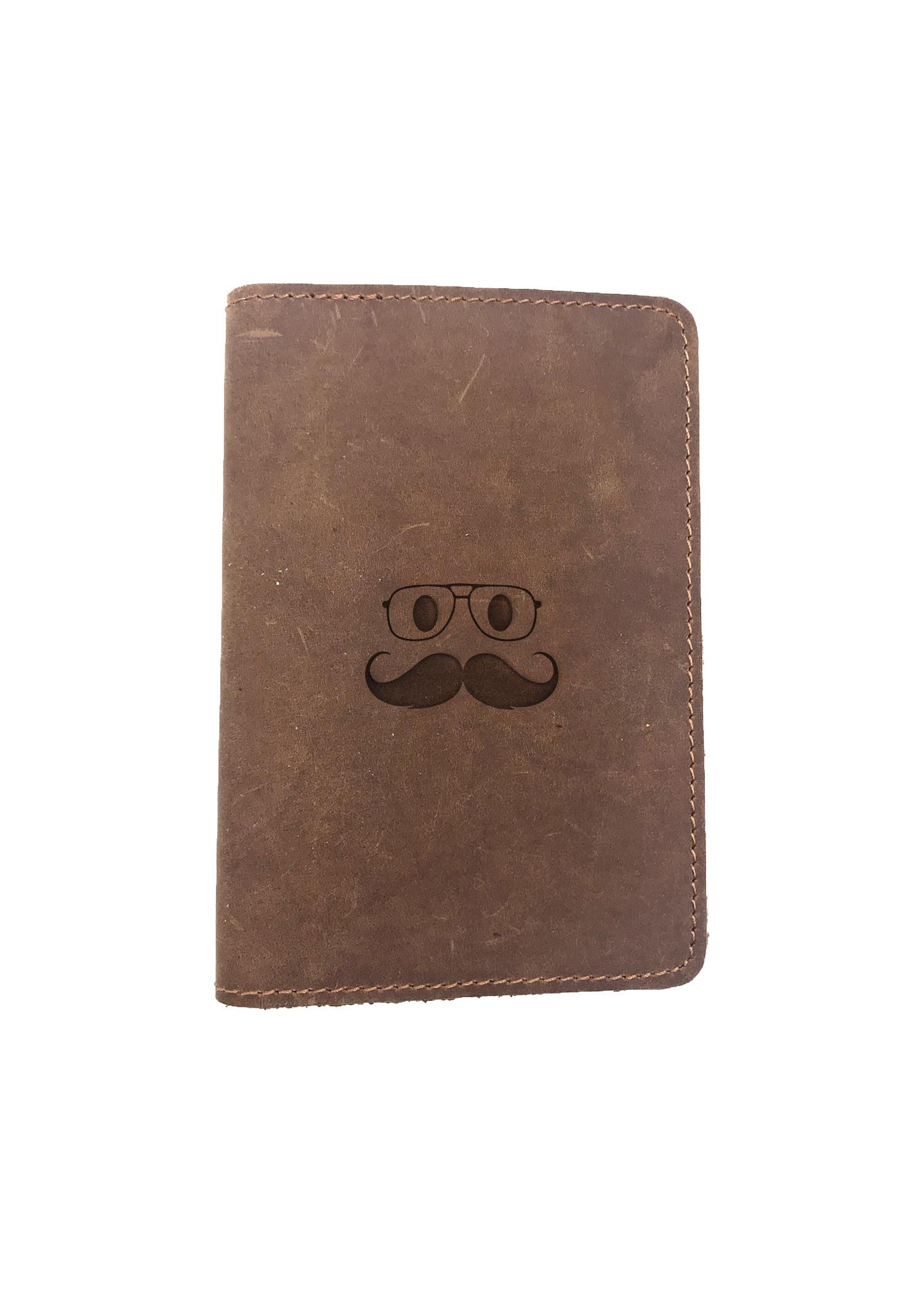 Passport Cover Bao Da Hộ Chiếu Da Sáp Khắc Hình Gương mặt MUSTACHE GLASSES FACE (BROWN)