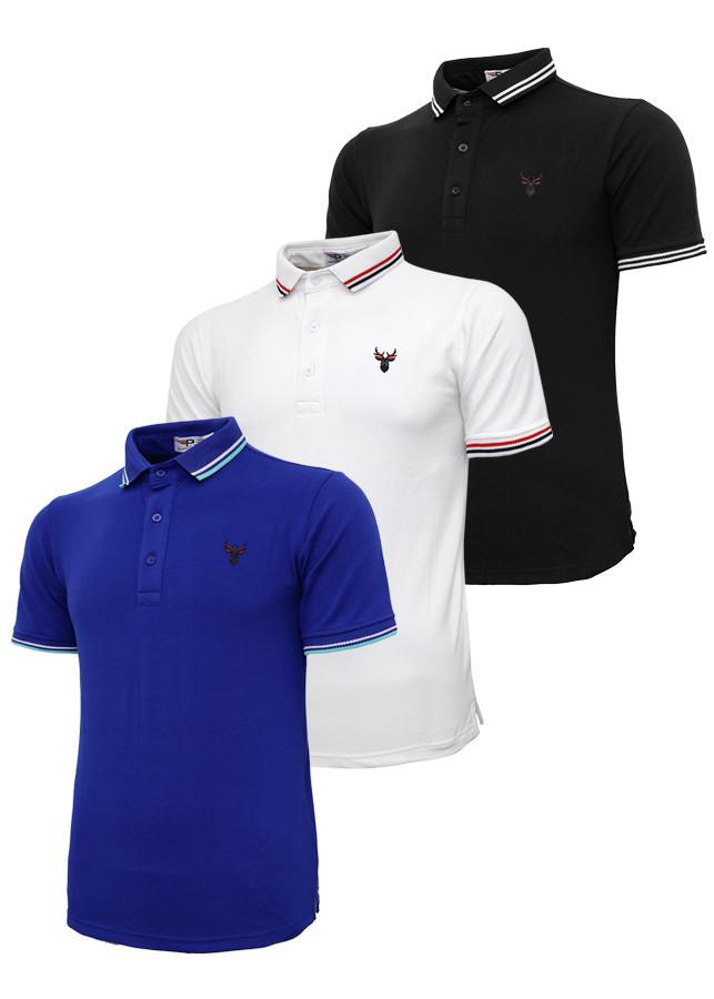 Bộ 3 áo thun nam cổ bẻ logo ép 3D chuẩn phong độ Pigofashion AHT16 xanh bích, trắng, đen