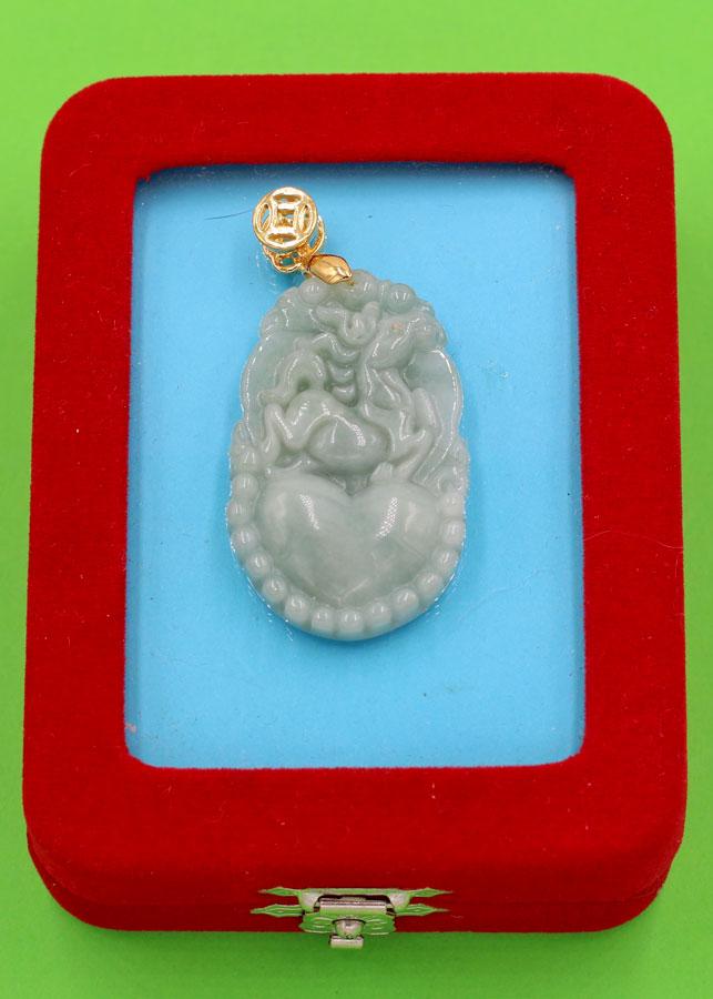 Mặt dây chuyền - khắc hình tuổi Ngọ - đá cẩm thạch MCGCTX8 - kèm hộp nhung - linh vật tuổi Ngọ