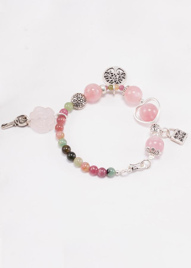 Vòng tay đá Tourmaline phối thạch anh hồng charm khóa (5mm) Ngọc Quý Gemstones