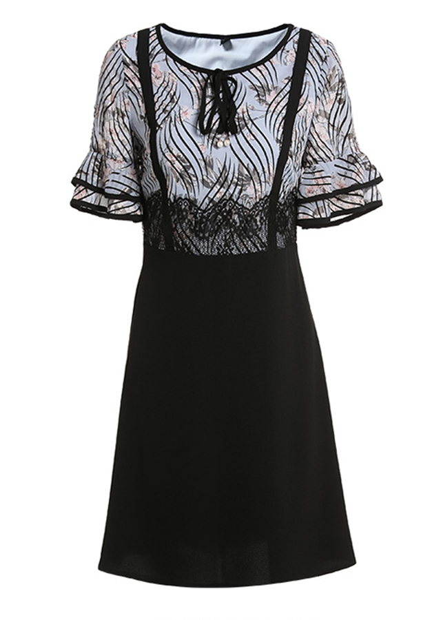 Đầm suông dạo phố kiểu đầm suông in hoa phối tay loe cột nơ cổ ROMI1681