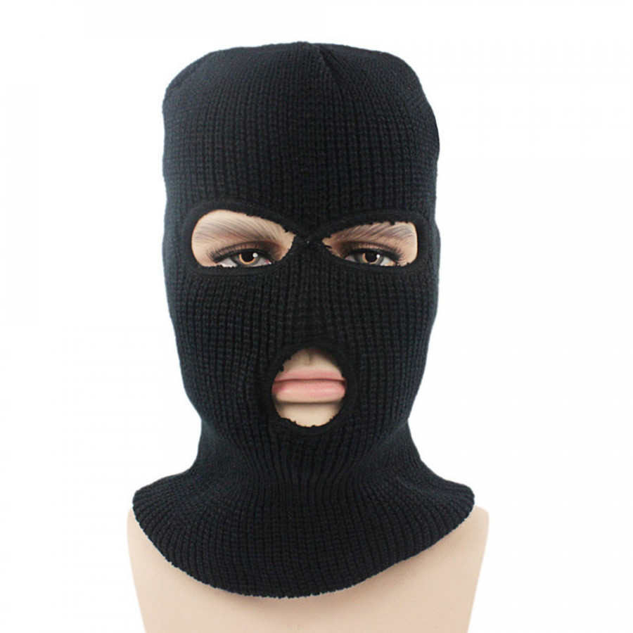 Warm Knitted Full Face Mask Cover Neck Guard Warmer 3-Hole Cycling Ski Mask Hat for Winter Outdoor Sports