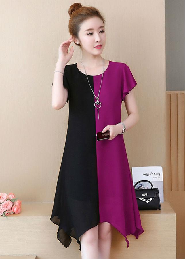 Đầm Suông Nữ Phối Màu
