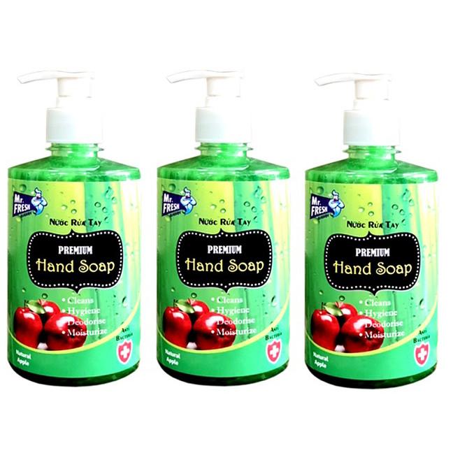 Bộ 3 Chai Nước rửa tay Premium  Mr Fresh Hàn Quốc 500ml Hương Táo Mỹ