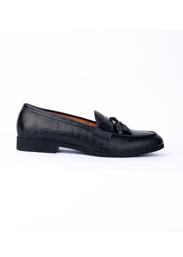 Giày lười nam công sở dập vân có chuông màu đen, da bò thật, đế cao 3cm Mã GD05D