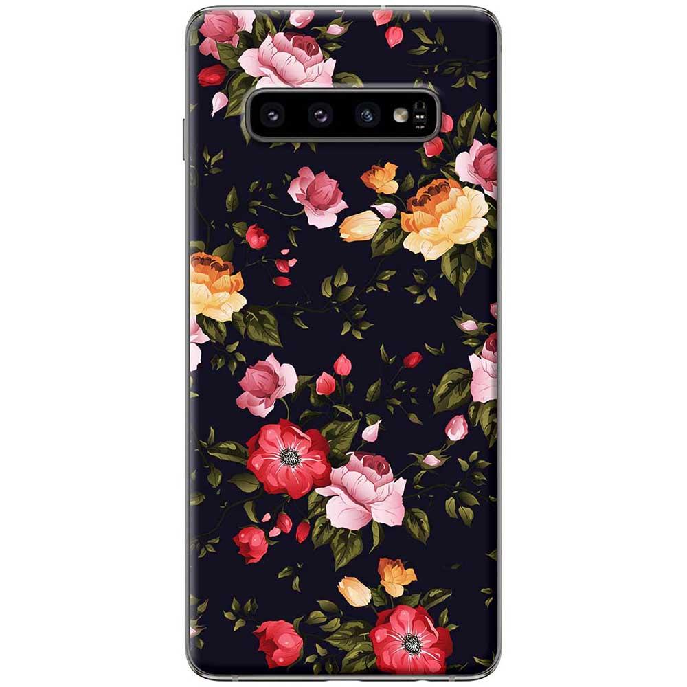 Ốp lưng  dành cho Samsung Galaxy S10 mẫu Hoa đỏ vàng