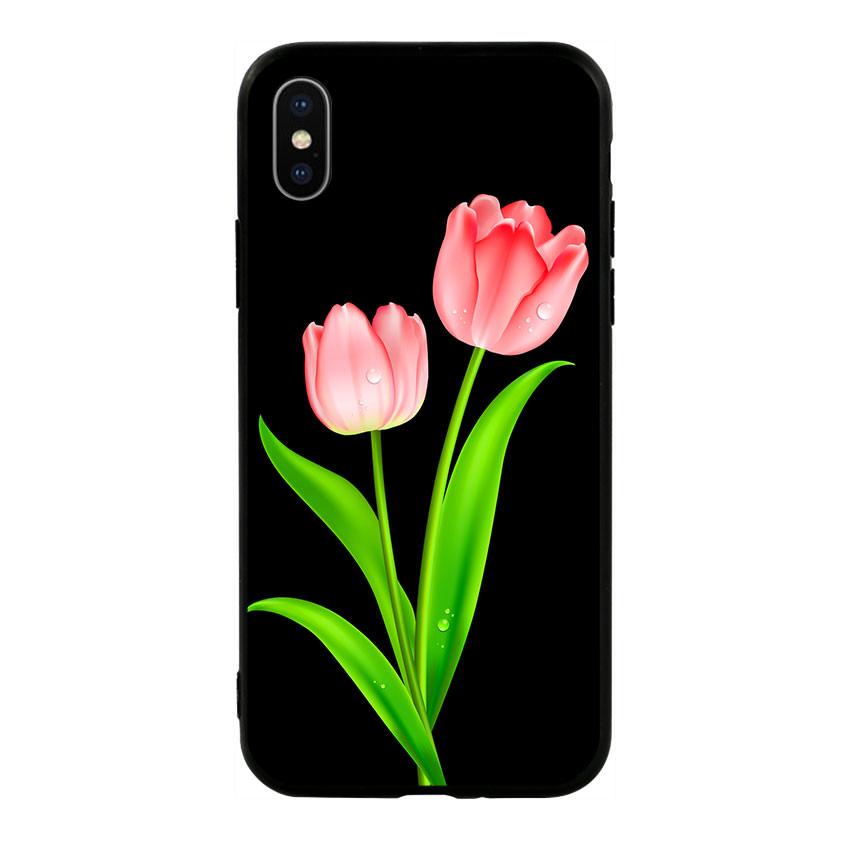 Ốp lưng viền TPU cho điện thoại Iphone X - Tulip 01