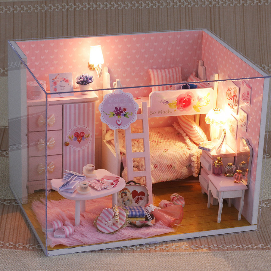 Miniature Super Mini Size Doll House Model Building Kits Wooden Furniture Toys DIY Dollhouse Girl Bedroom Pink Girl
