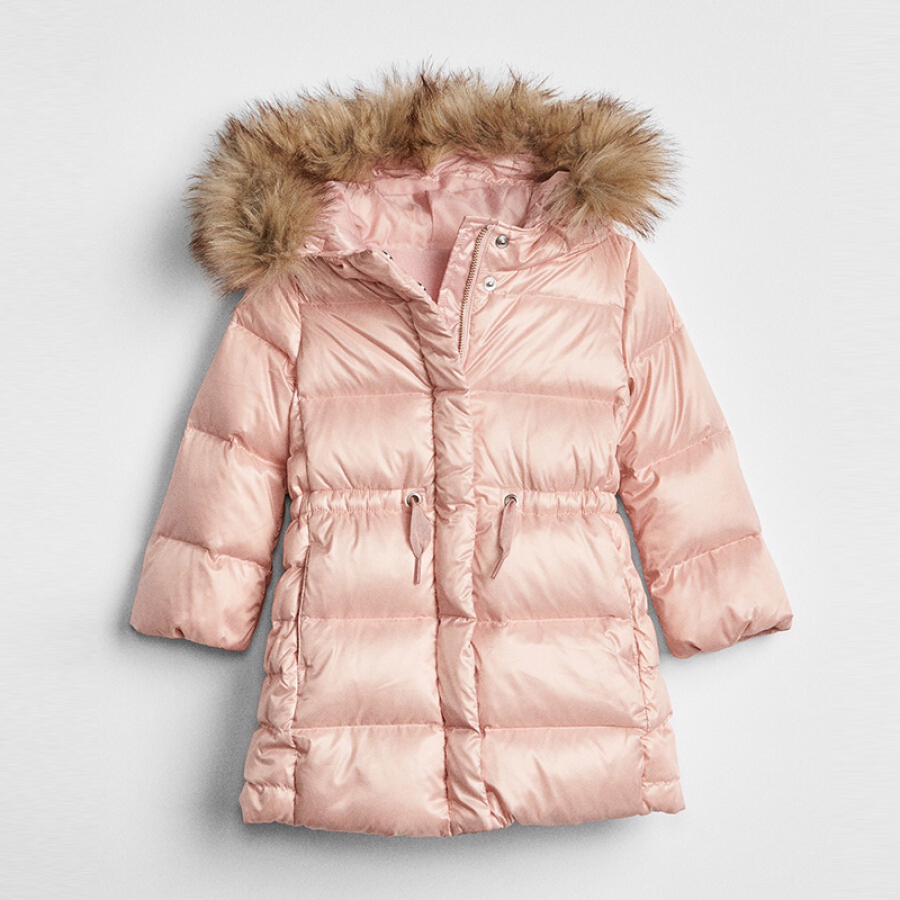 GAP flagship store girls warm wool-like collar hooded white duck down long down jacket