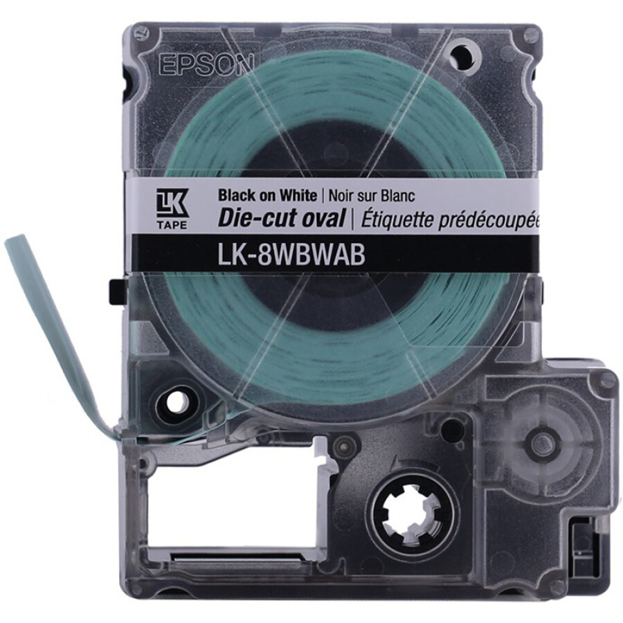 EPSON LK-8WBWAB Die-cut series ribbon oval (white / black)
